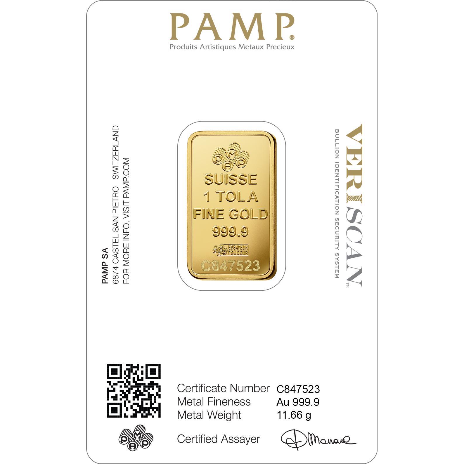 1 tola Gold Bar - PAMP Suisse Lady Fortuna Veriscan