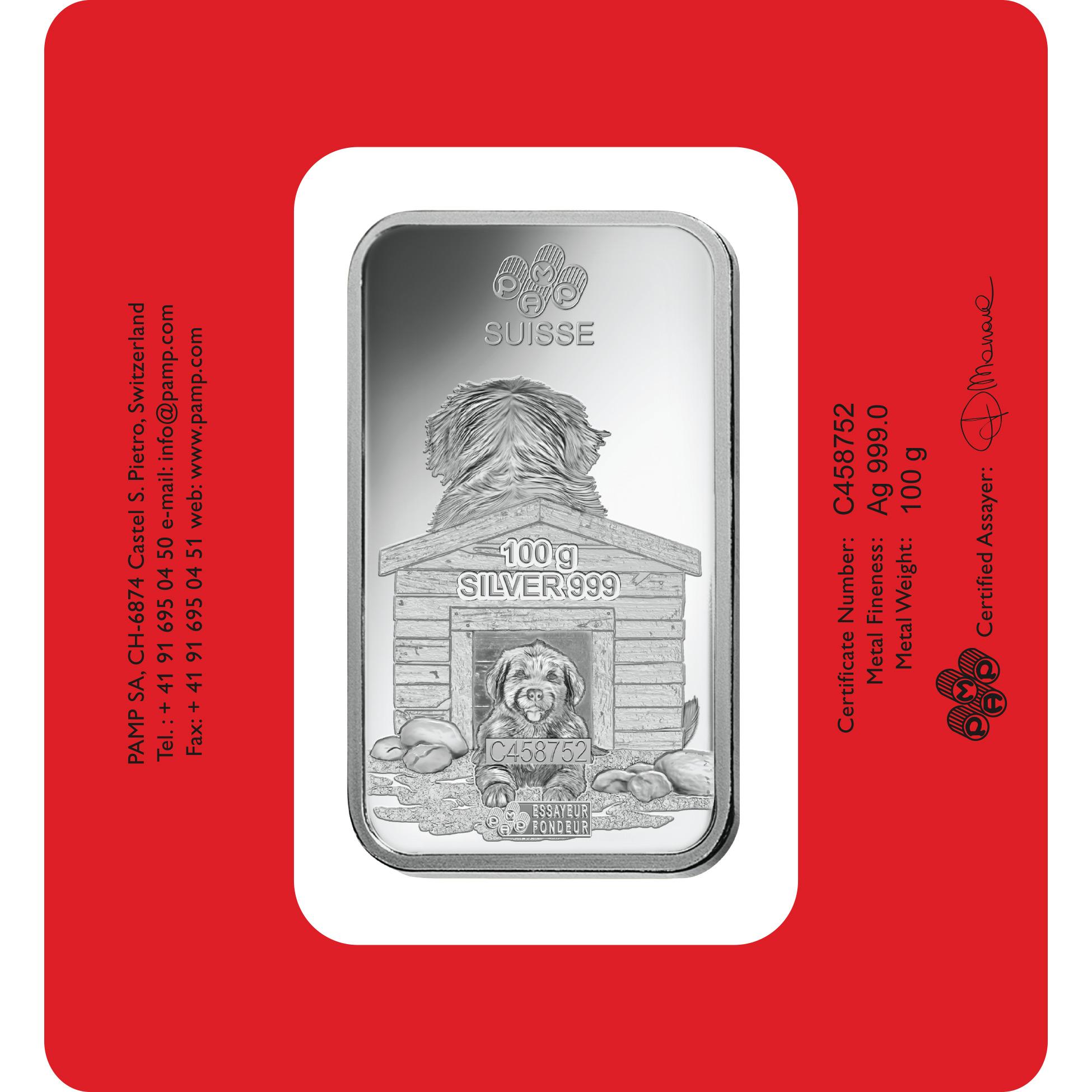 100 grammes lingotin d'argent pur 999.0- PAMP Suisse Lunar Chien
