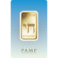 1 oz Gold Bar - PAMP Suisse Am Yisreal Chai
