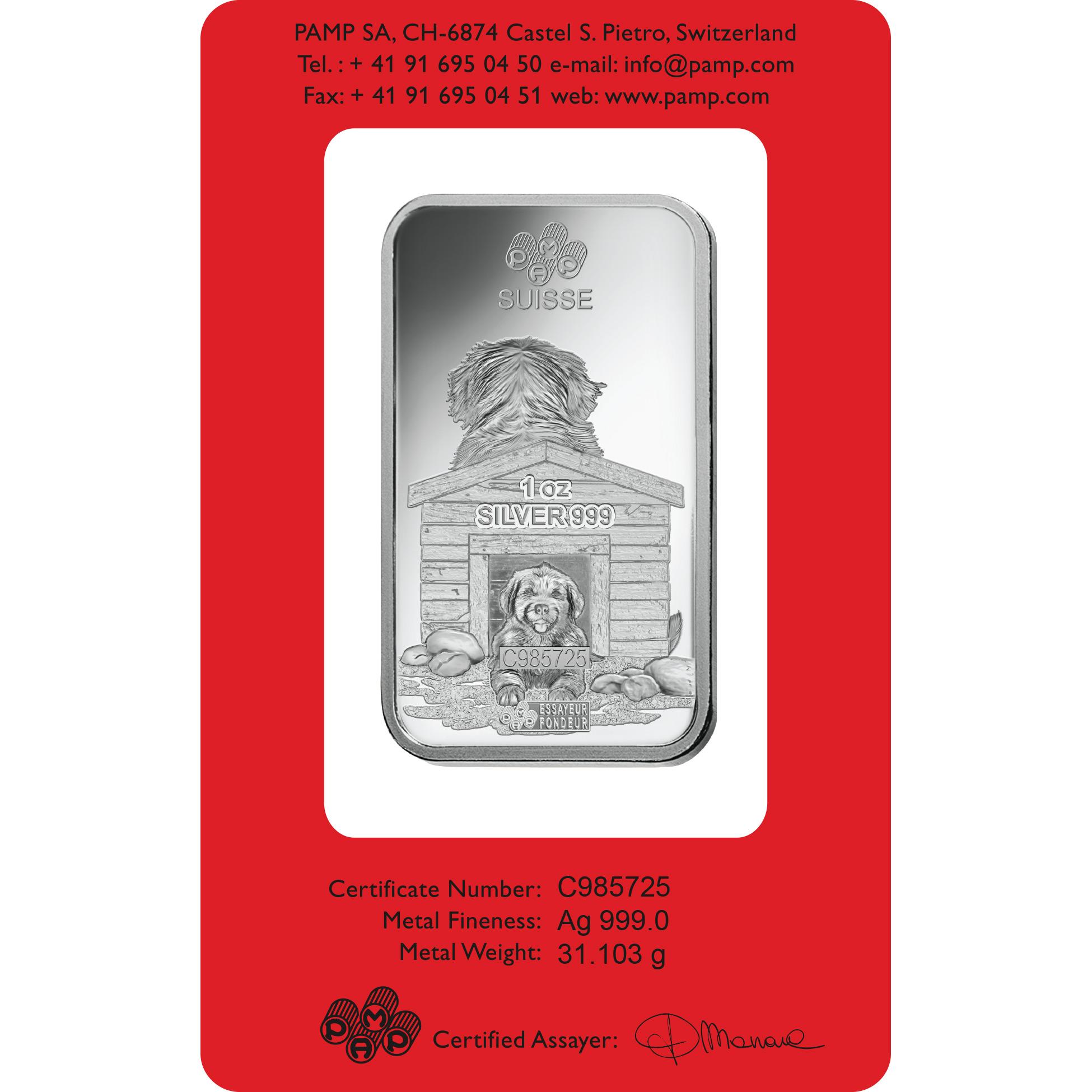 1 oz Fine Silver Bar 999.0 - PAMP Suisse Lunar Dog