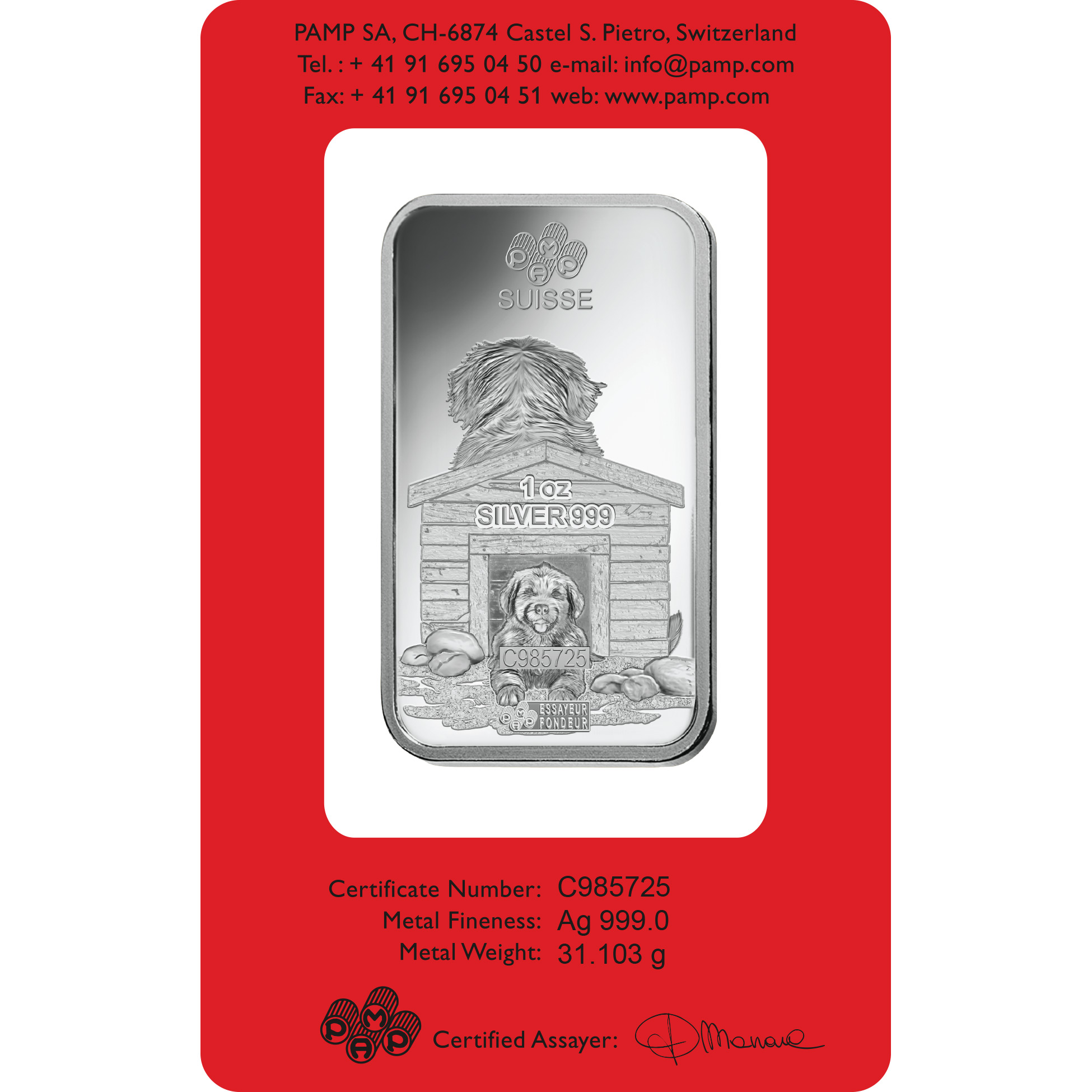 1 oncia lingottino d'argento puro 999.0 - PAMP Suisse Cane Lunare
