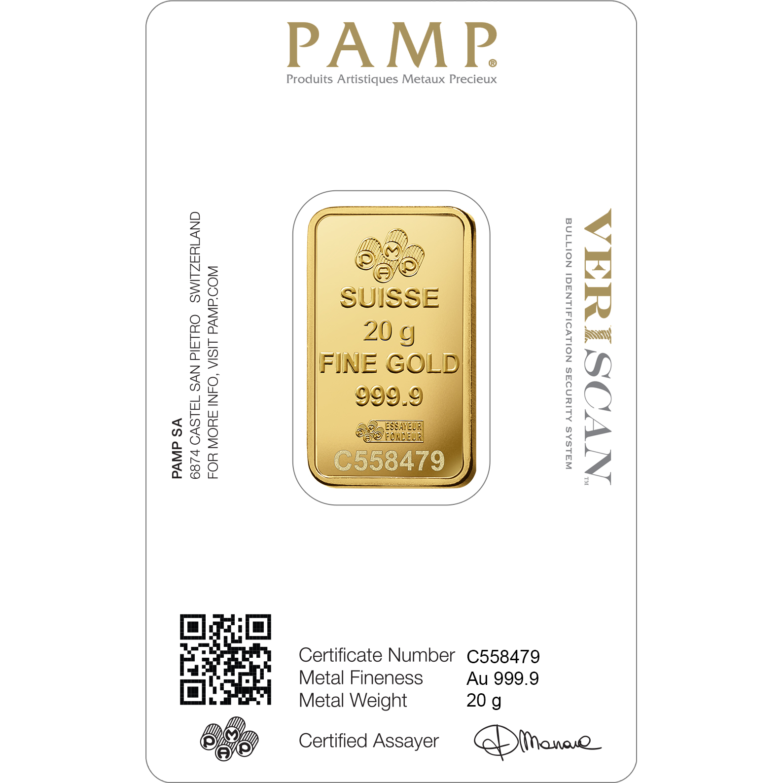 20 grammes lingotin d'or pur 999.9- PAMP Suisse Lady Fortuna Veriscan