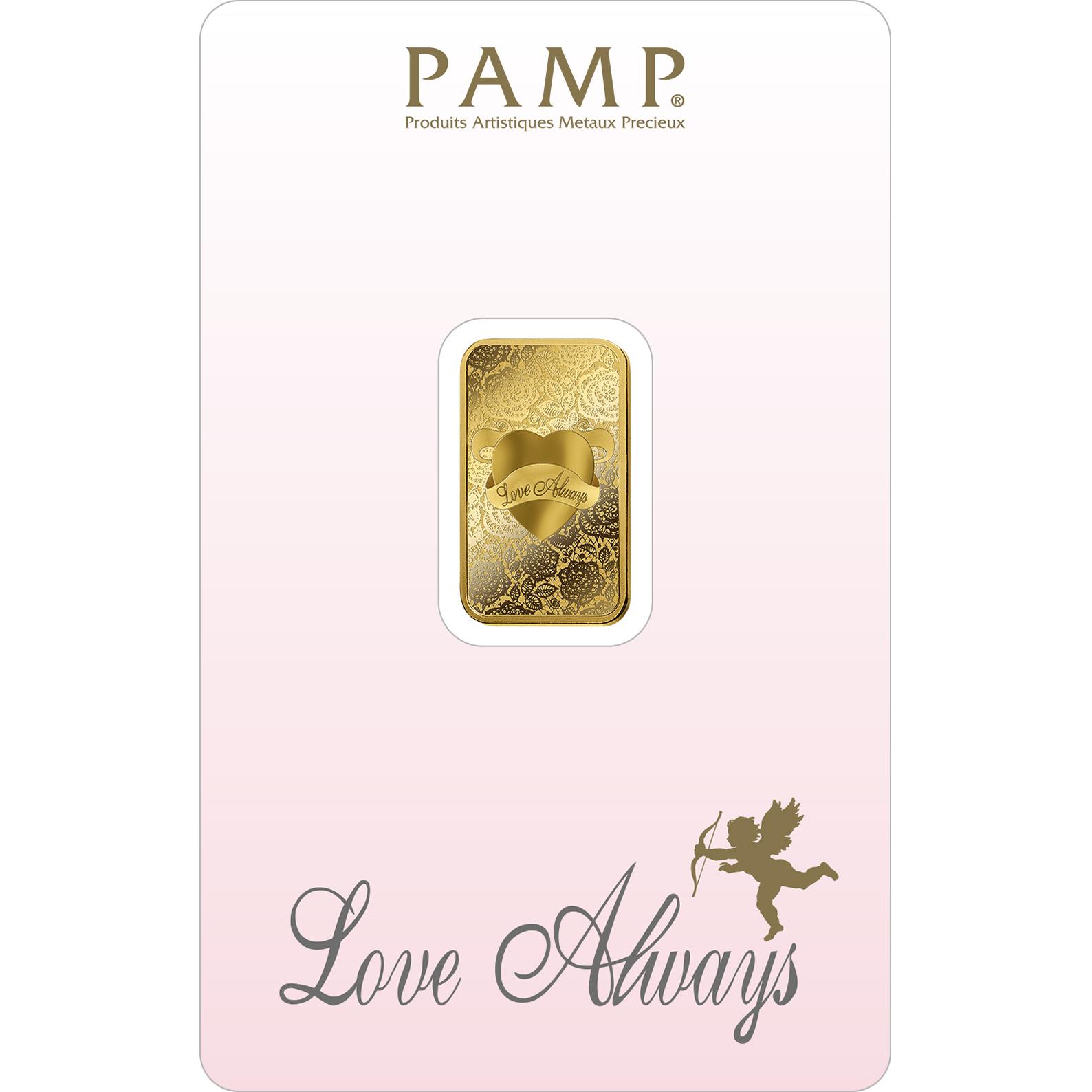 5 grammi lingottino d'oro puro 999.9 - PAMP Suisse Love Always