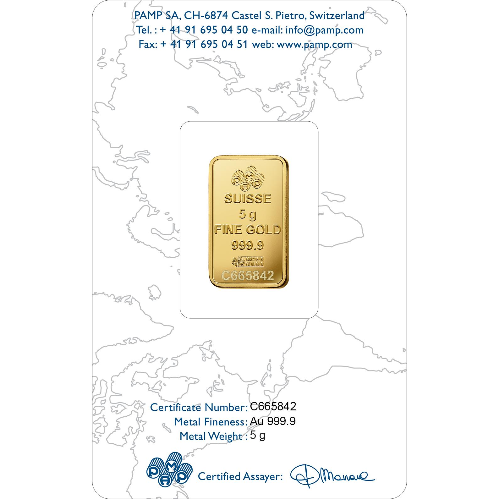 5 Gramm FeinGoldbarren 999.9 - PAMP Suisse Liberty