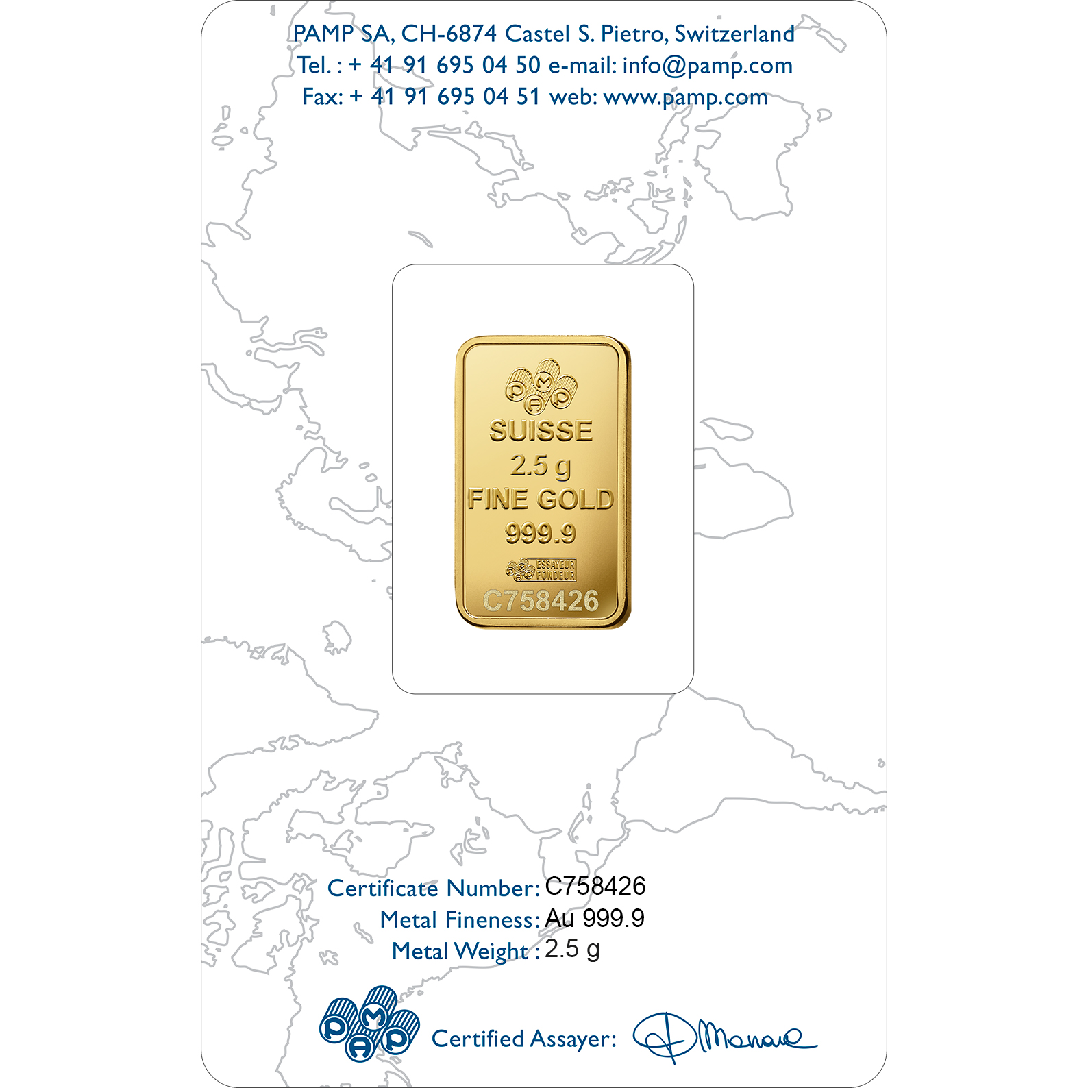 2.5 gram Gold Bar - PAMP Suisse Liberty
