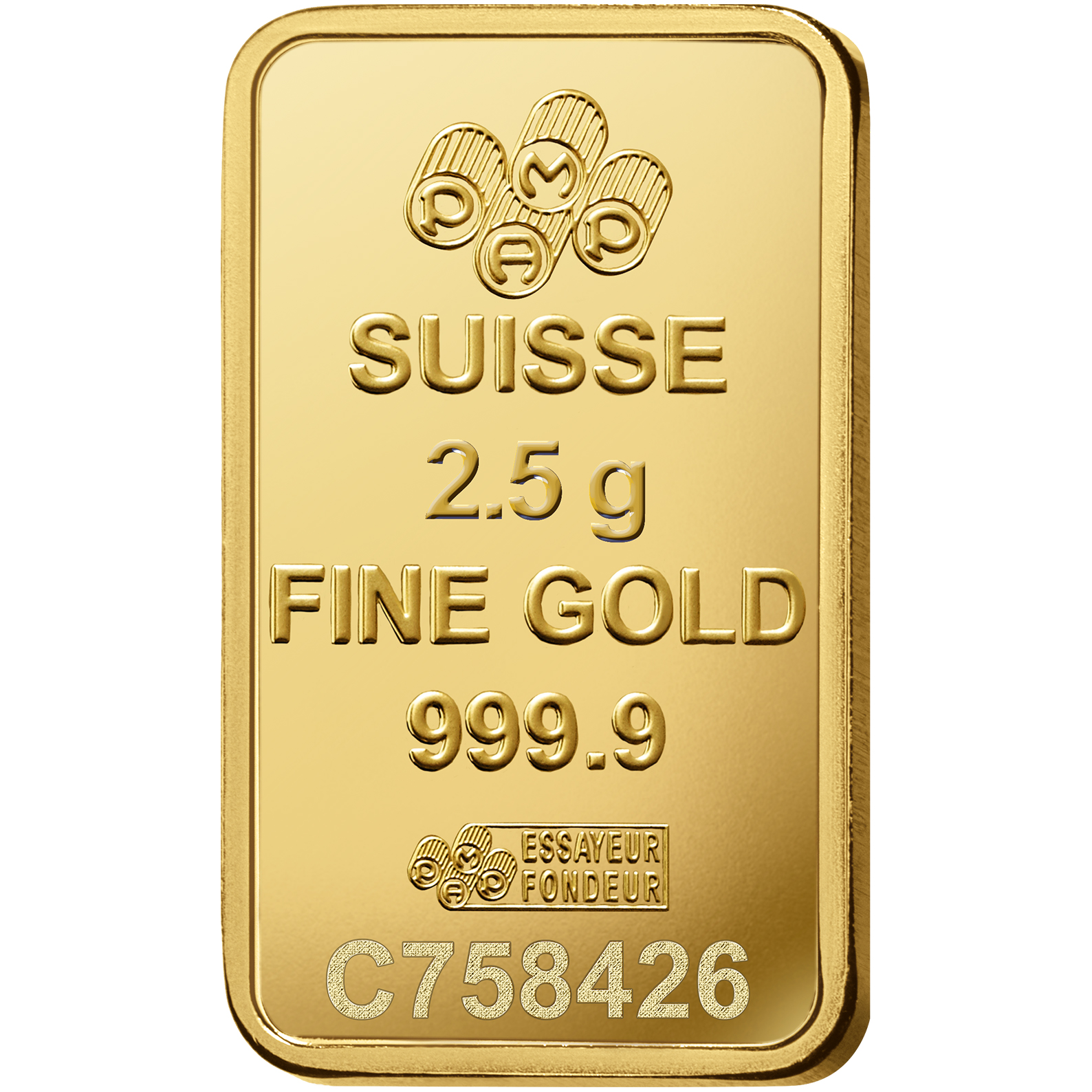 2.5 gram Fine Gold Bar 999.9 - PAMP Suisse Liberty