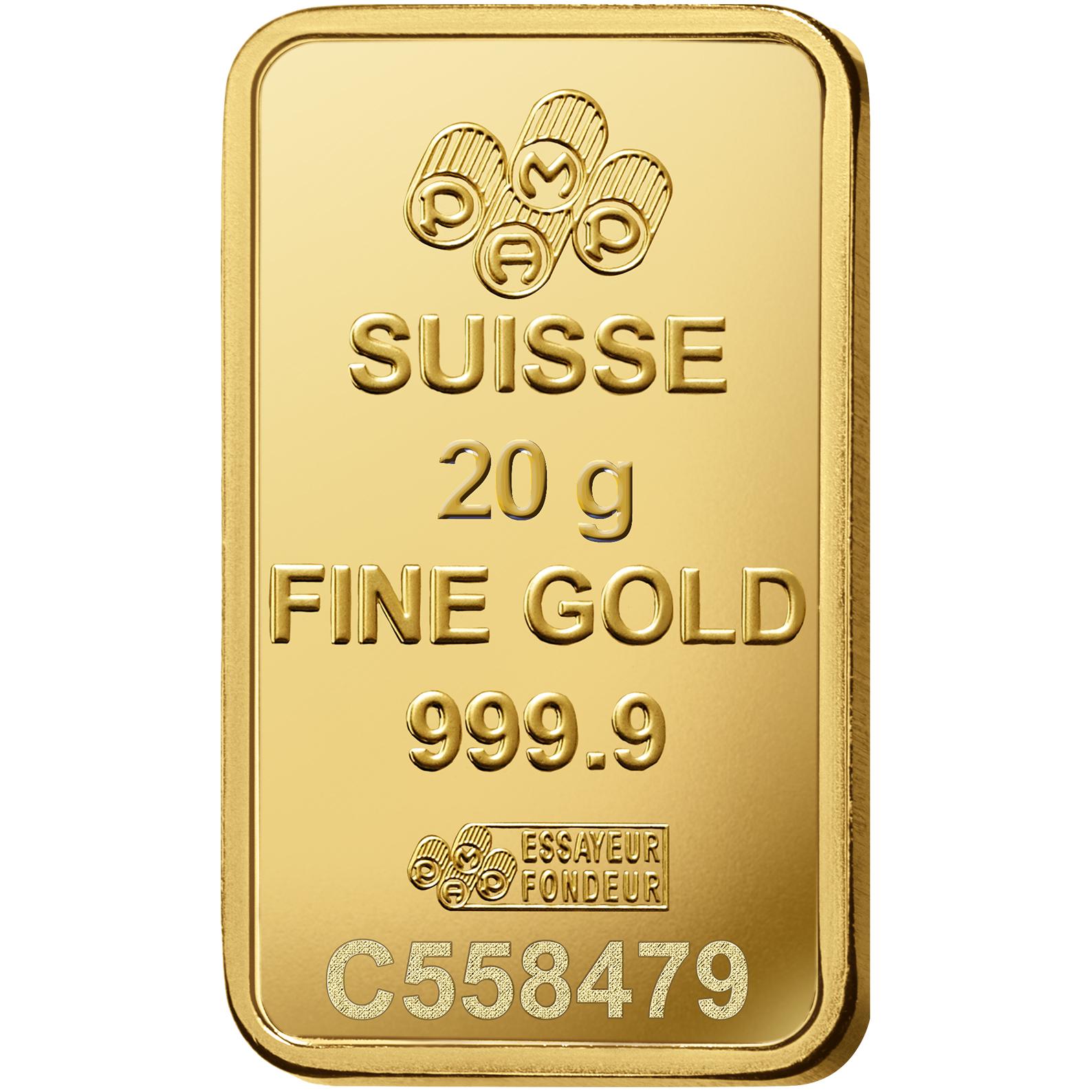 20 Gramm FeinGoldbarren 999.9 - PAMP Suisse Rosa