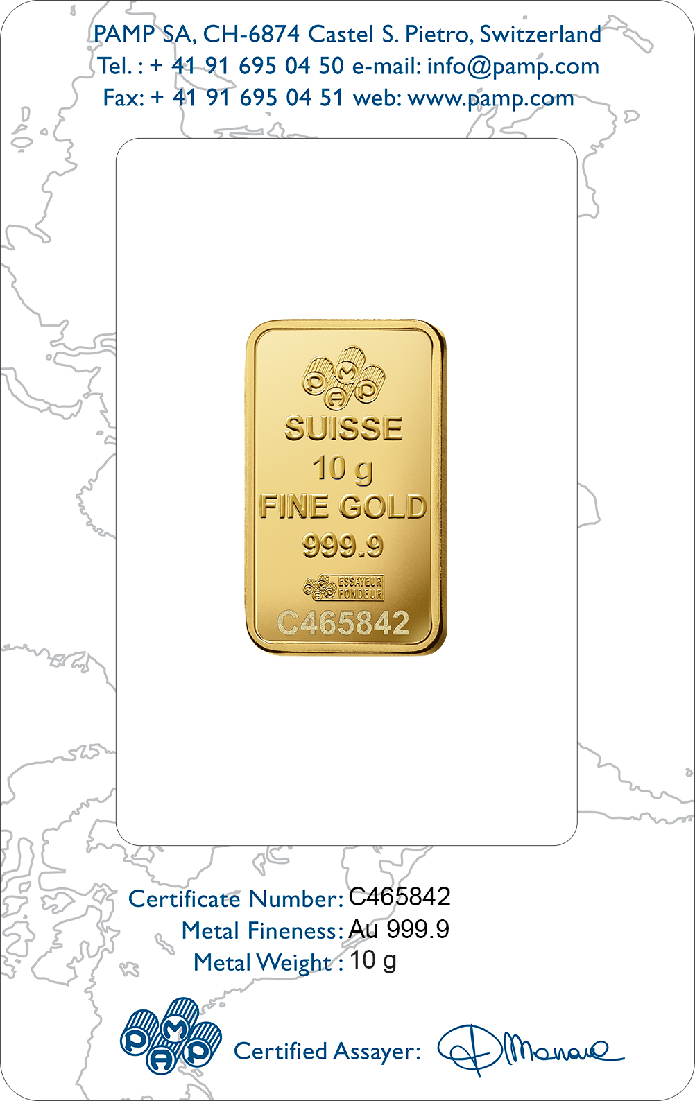 10 grammi lingottino d'oro puro 999.9 - PAMP Suisse Rosa