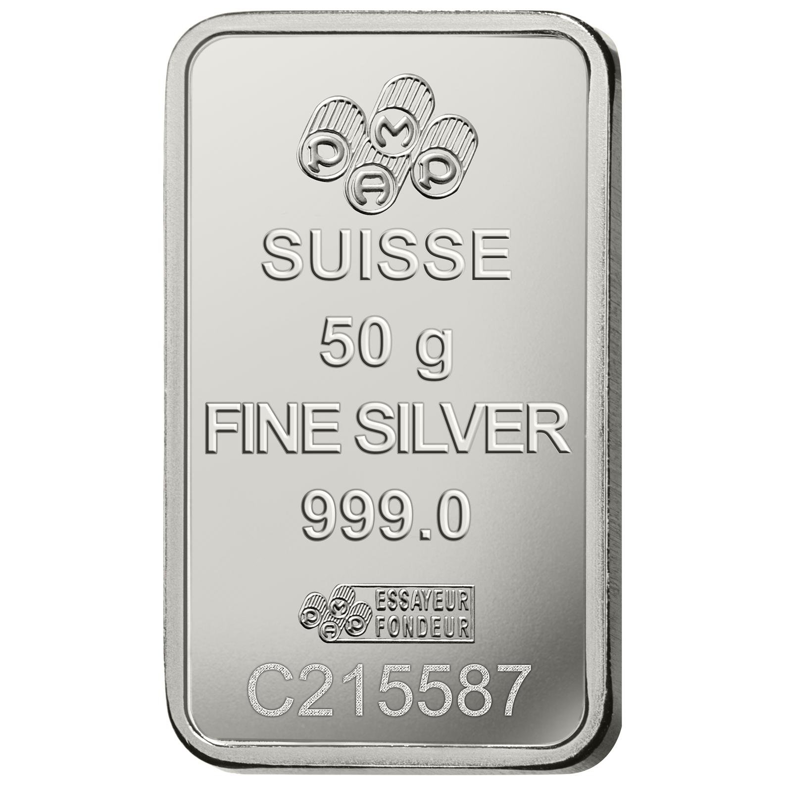 50 gram Silver Bar - PAMP Suisse Rosa