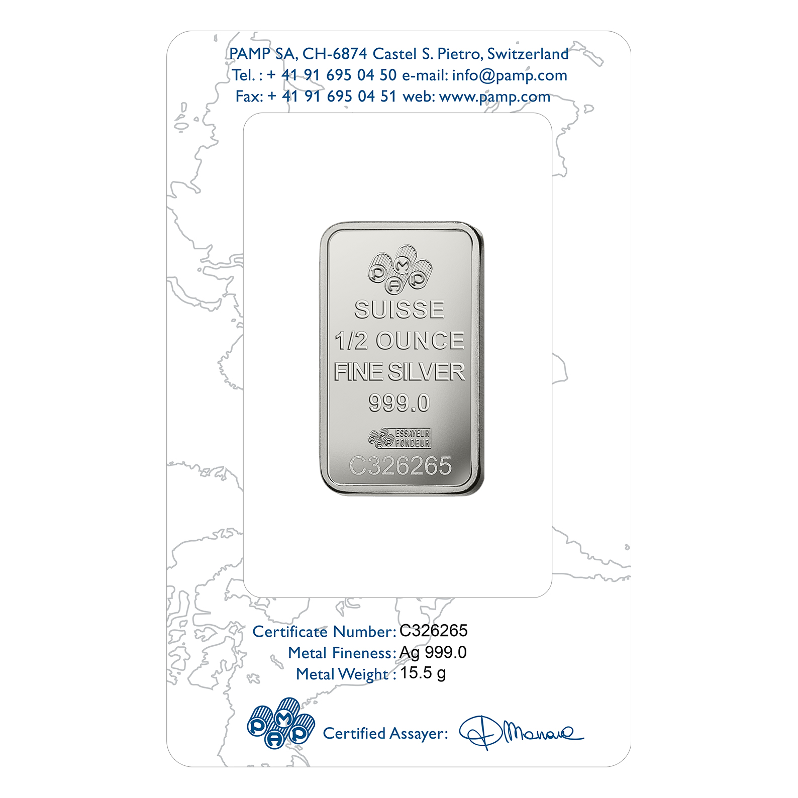 1/2 oz Silver Bar - PAMP Suisse Rosa
