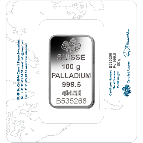 100 gram Fine Palladium Bar 999.5 - PAMP Suisse Lady Fortuna