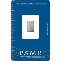 1 gram Platinum Bar - PAMP Suisse Liberty Rectangular