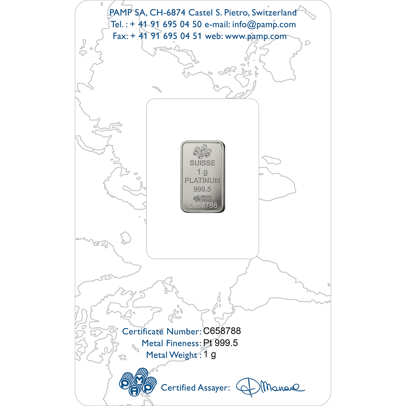 1 gram Fine Platinum Bar 999.5 - PAMP Suisse Liberty Rectangular
