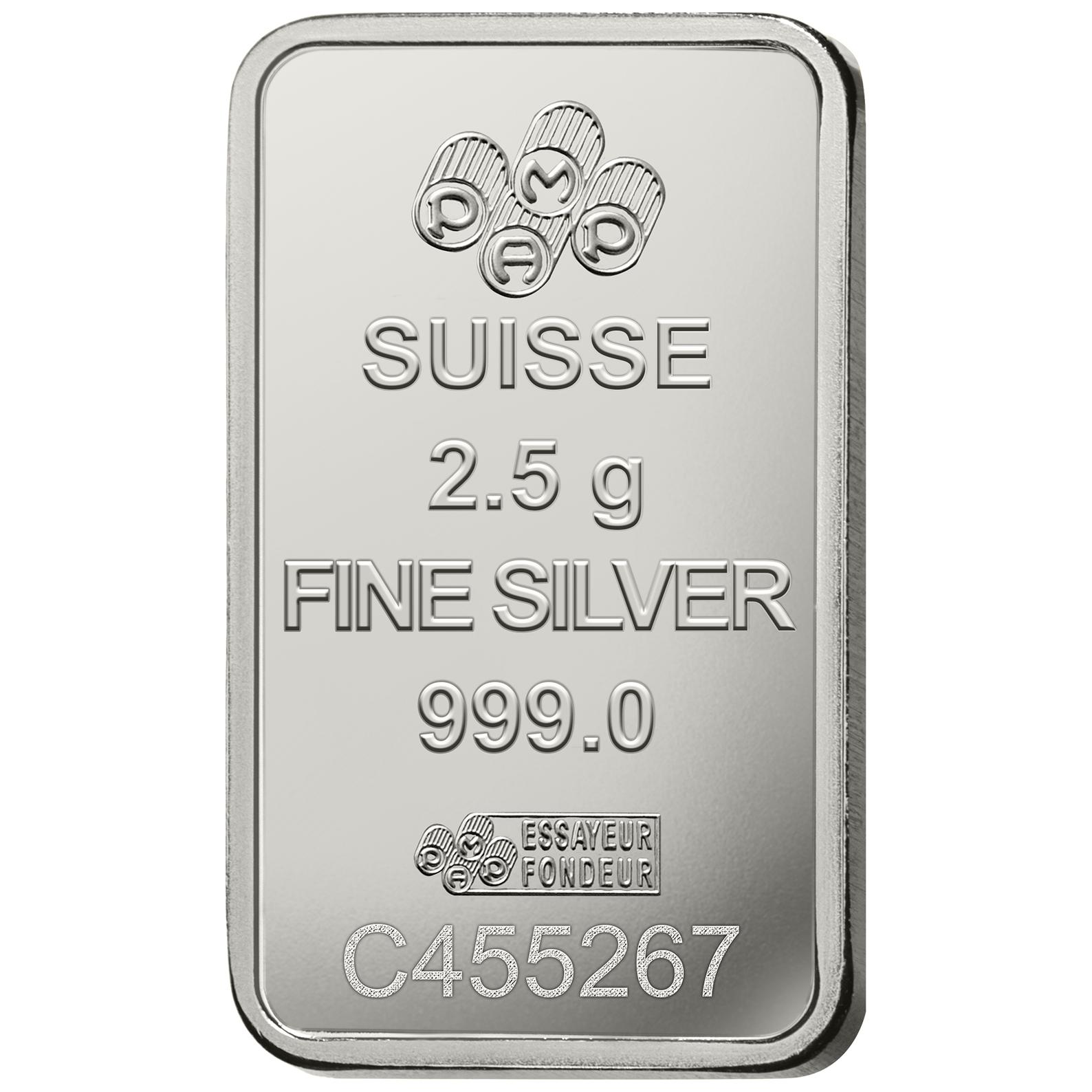 2.5 gram Silver Bar - PAMP Suisse Lady Fortuna