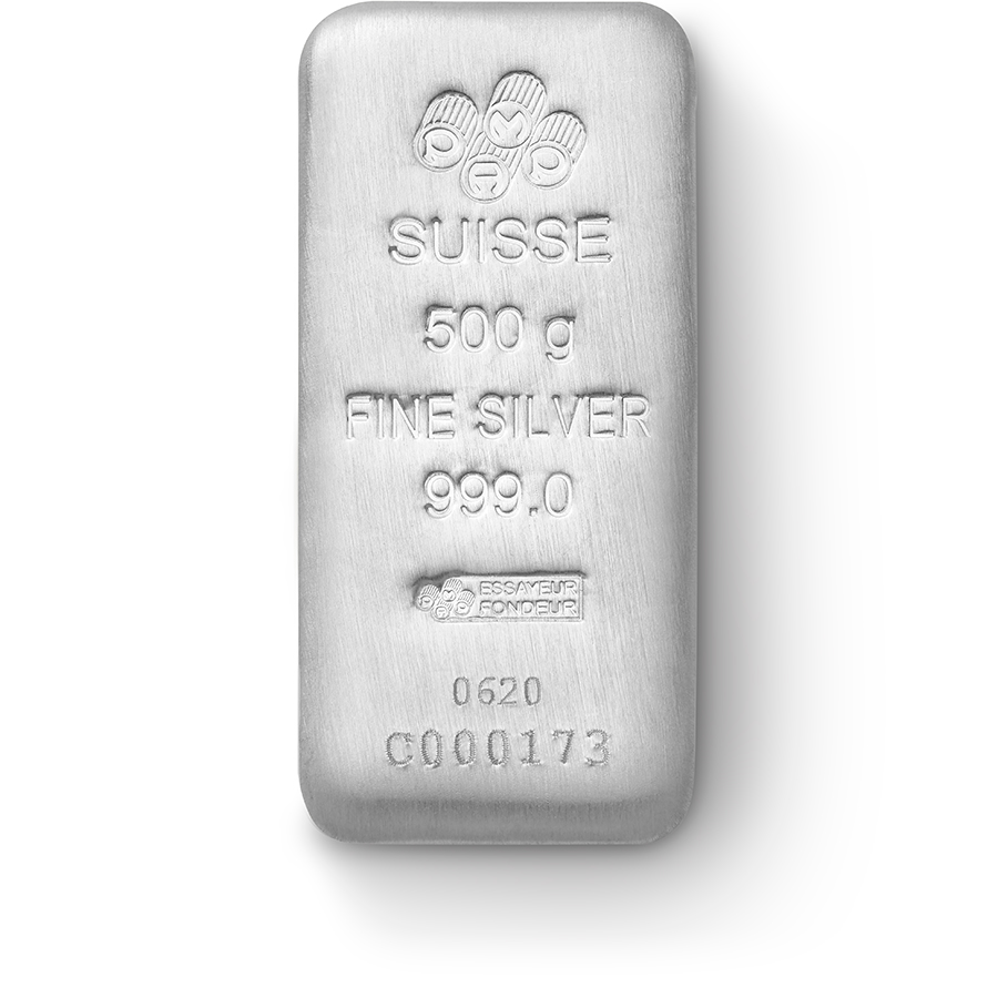 Invest in 500 grams Fine Silver Cast Bar - PAMP Suisse - Front