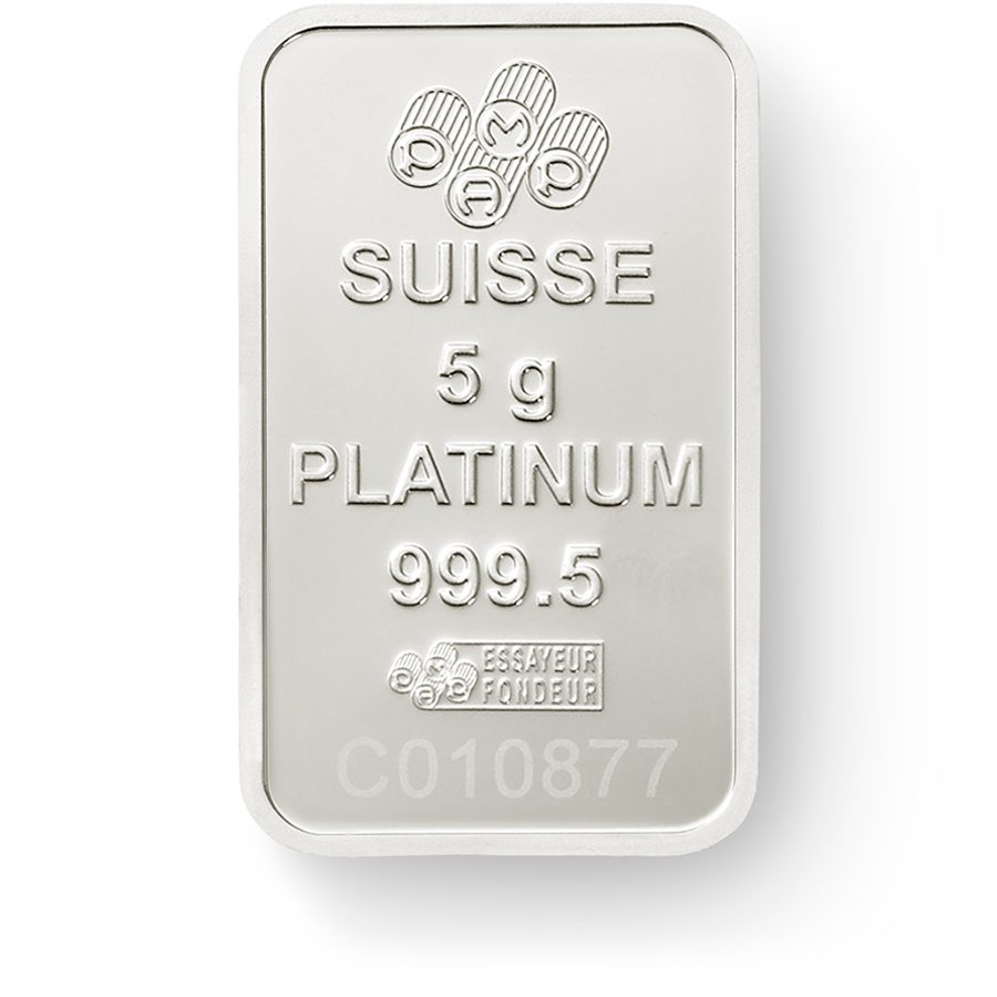 Invest in 5 grams Fine Platinum Lady Fortuna - PAMP Suisse - Back