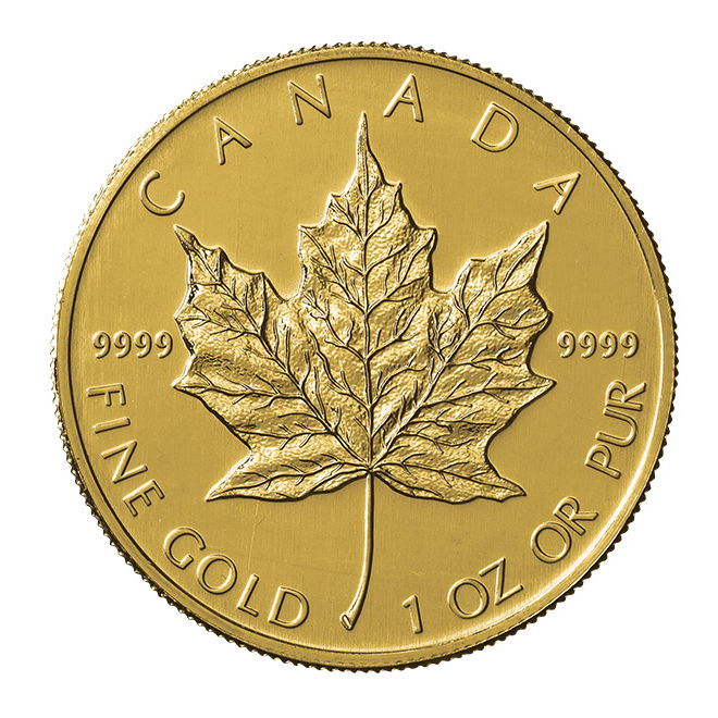 1 oncia moneta d'oro puro 999.9 - Maple Leaf Anno Casuale