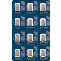 12 x 1 gram Platinum Bar - PAMP Suisse Lady Fortuna