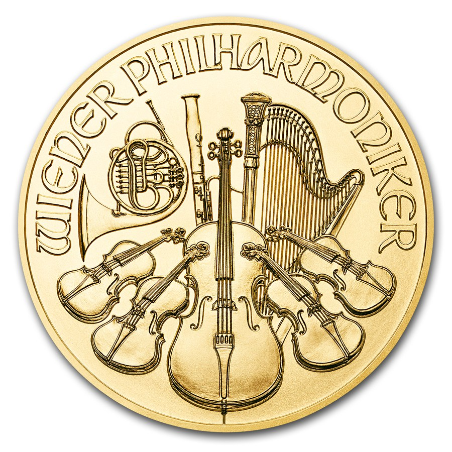 1 oz Fine Gold Coin 999.9 - Philharmonic BU Mixed Years