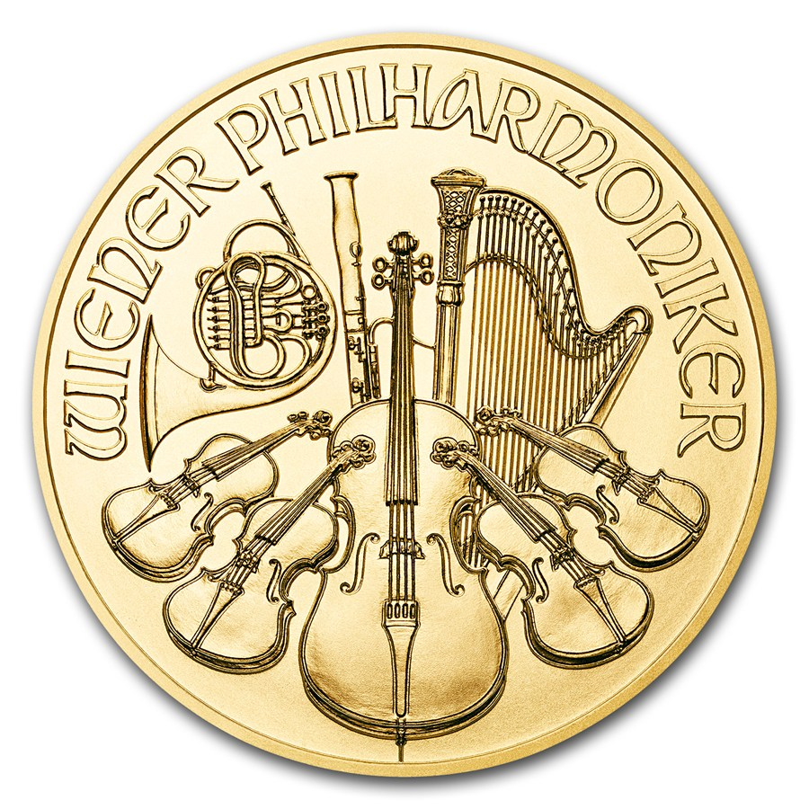 1/10 oz Fine Gold Coin 999.9 - Philharmonic BU Mixed Years