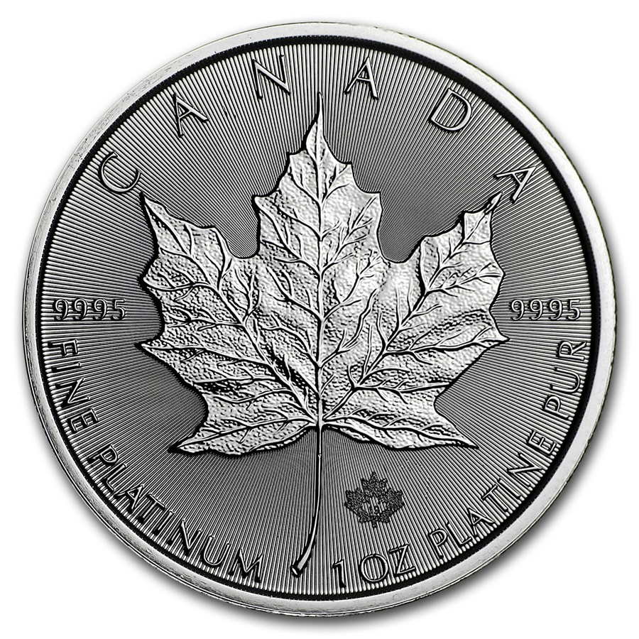 1 oncia moneta di platino puro 999.5 - Maple Leaf BU Anni Misti