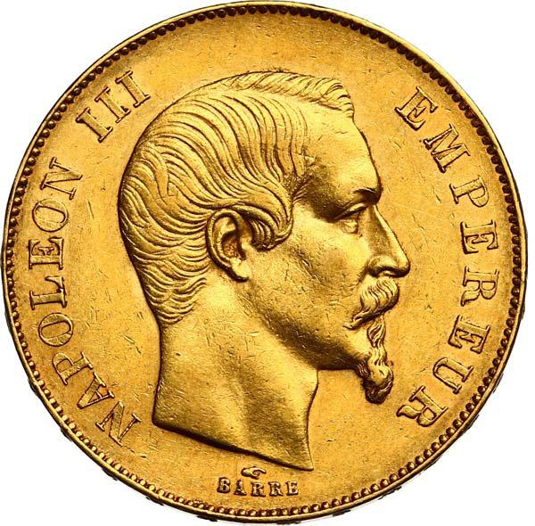 Fine Gold Coin 900.0 -  50 Francs Napoléon III, Tête Nue 1855 A Paris