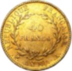 Pièce de monnaie d'or pur 900.0 - 40 Francs Napoléon Bonaparte Premier Consul An XI