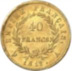 Fine Gold Coin 900.0 - 40 Francs Napoléon Tête Laurée Empire 1812 (Q2)