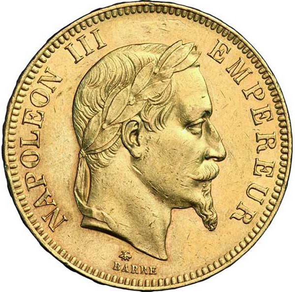 Pièce de monnaie d'or pur 900.0 - 100 Francs Napoléon III Tête Laurée 1868 A