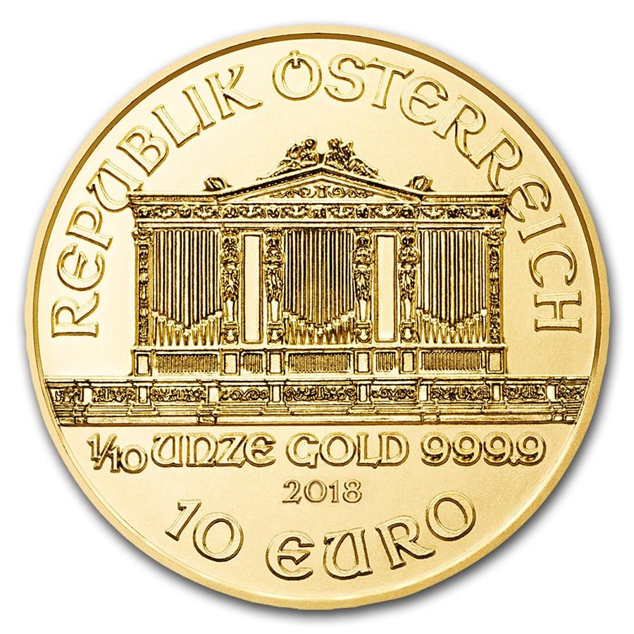 1/10 oz Gold Coin - Philharmonic BU 2018