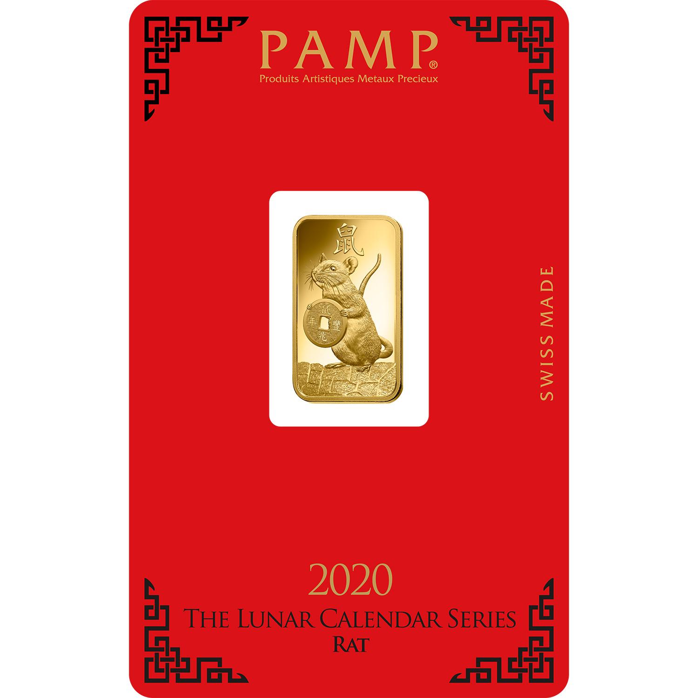 5 gram Fine Gold Bar 999.9 - PAMP Suisse Lunar Rat