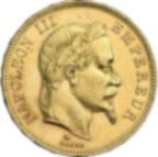 Fine Gold Coin 900.0 - 100 Francs Napoléon III Tête Laurée 1869 A