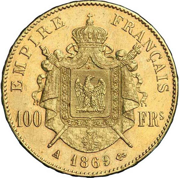 Pièce de monnaie d'or pur 900.0 - 100 Francs Napoléon III Tête Laurée 1869 A