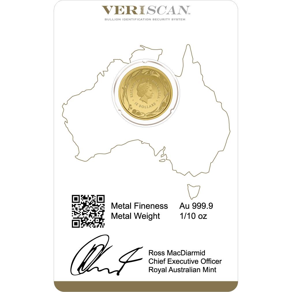 1/10 oz Fine Gold Coin 999.9 - Kangaroo Veriscan BU Mixed Years