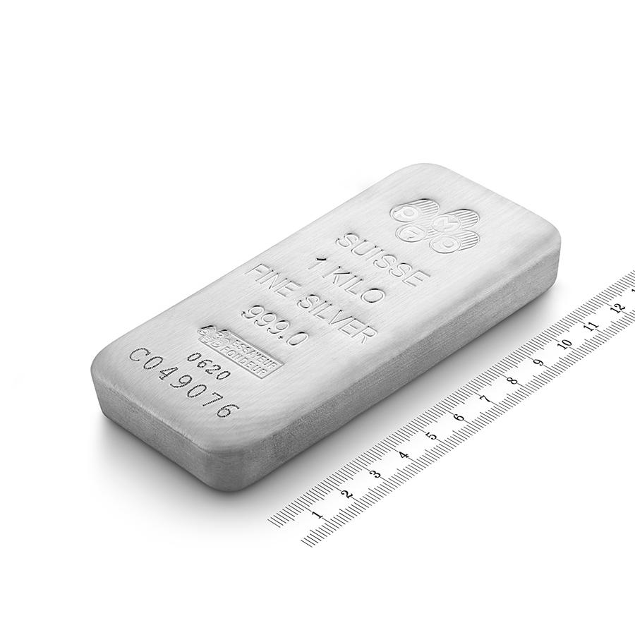 Acquistare 1 kg lingotto d'argento puro 999.0 - PAMP Suisse - Ruler view