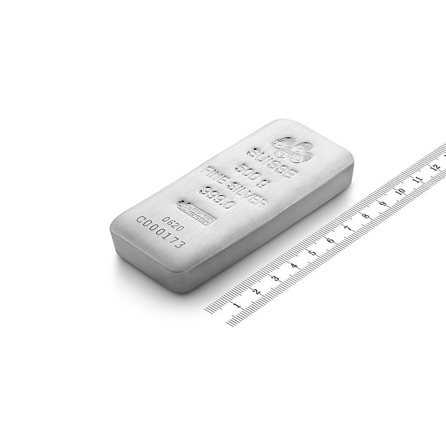 Acquistare 500 grammi lingotto d'argento puro 999.0 - PAMP Suisse - Ruler view