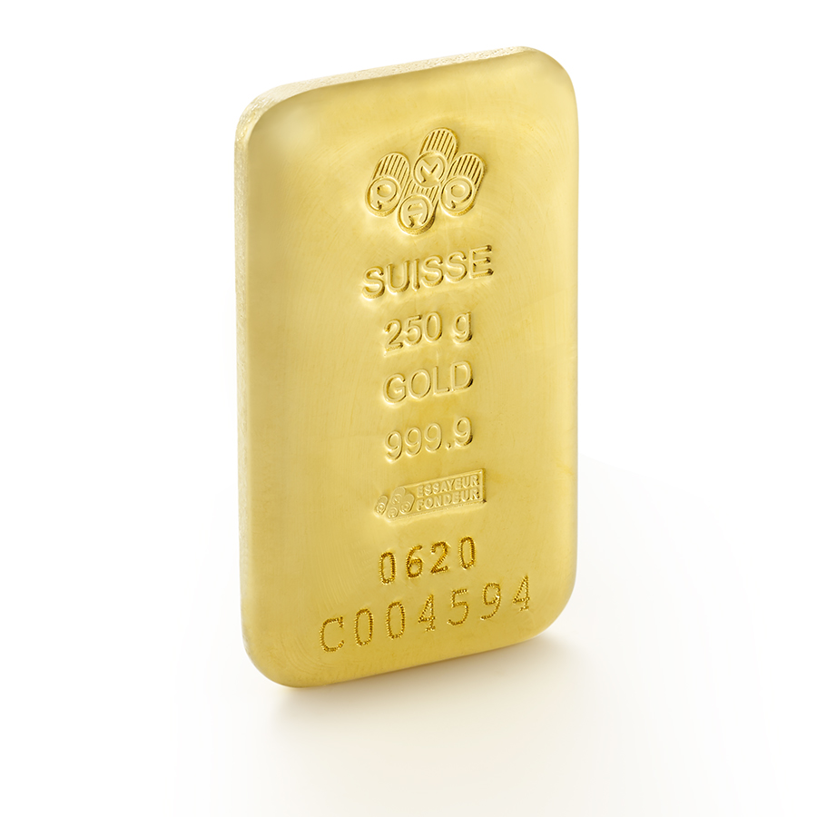 Invest in 250 grams Fine gold Cast Bar - PAMP Swiss - 3/4 view