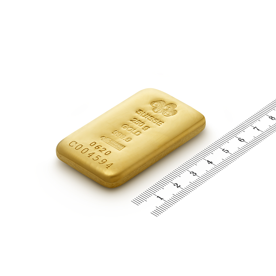 Comprare 250 grammi lingotto d'oro puro 999.9 - PAMP Suisse - Ruler view