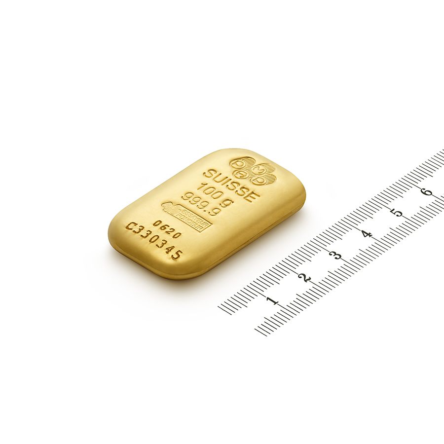 Purchase 100 grams Fine gold Cast Bar - PAMP Swiss - Ruler view