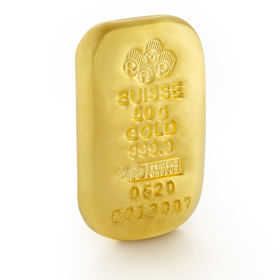 Purchase 50 grams Fine gold Cast Bar - PAMP Swiss - 3/4 view