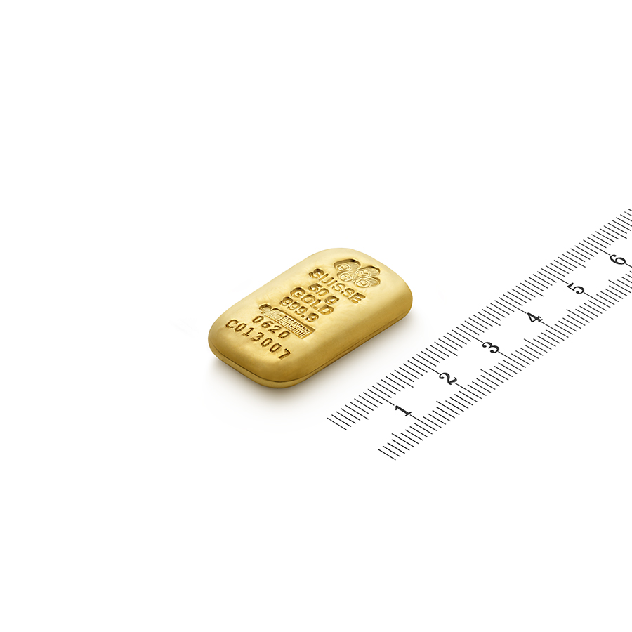 Invest in 50 grams Fine gold Cast Bar - PAMP Swiss - Ruler view