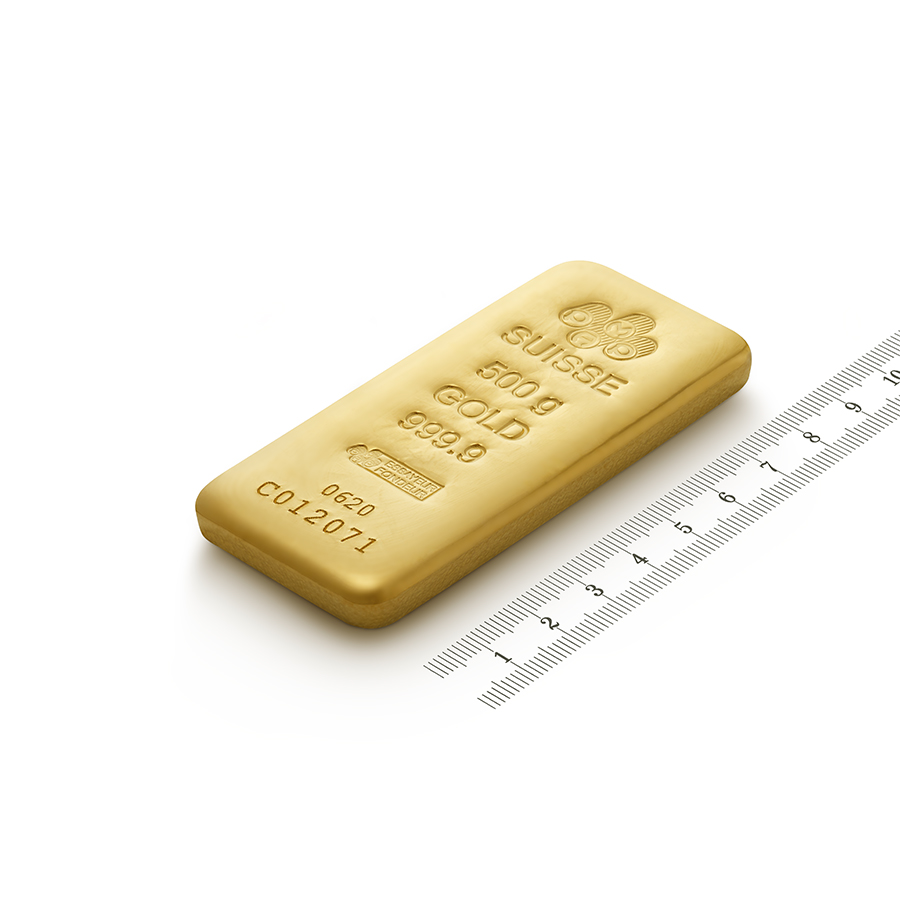 Invest in 500 grams Fine gold Cast Bar - PAMP Swiss - Ruler view