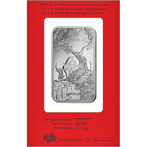 Achat d'or 1 once Lingot, Lingotin d'argent Pur Lunar Boeuf - PAMP Suisse - Back