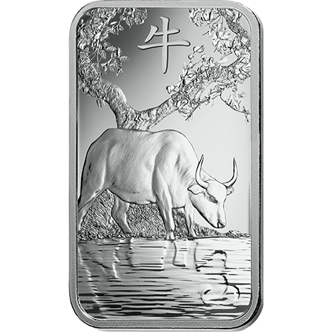 investir dans l'or, 1 once Lingot, Lingotin d'argent Pur Lunar Boeuf - PAMP Suisse - Front