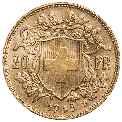 Swiss 20 Francs Helvetia Gold Coins